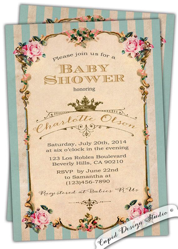French Royal Baby Shower Invitation Tea Party Birthday Roses – Garden Party Baby Shower Invitations