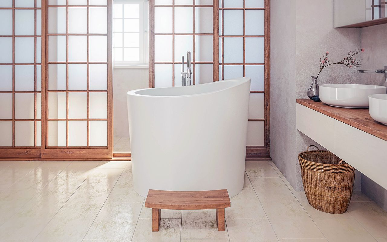 Aquatica true ofuro mini freestanding stone japanese