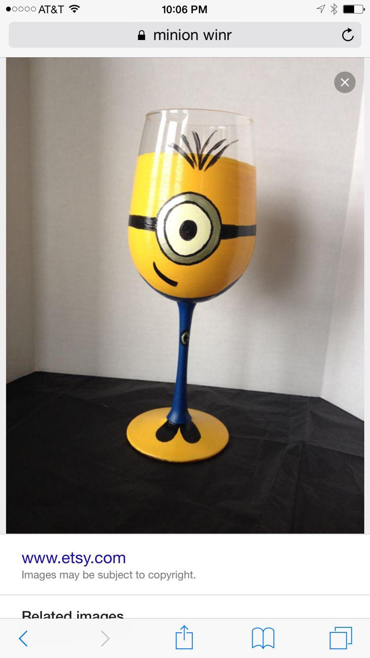 Minion wine glass Minions Pinterest