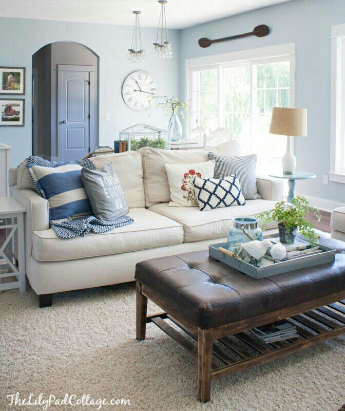 Link to many coastal ideas - Living room blue Living Rooms in 2018