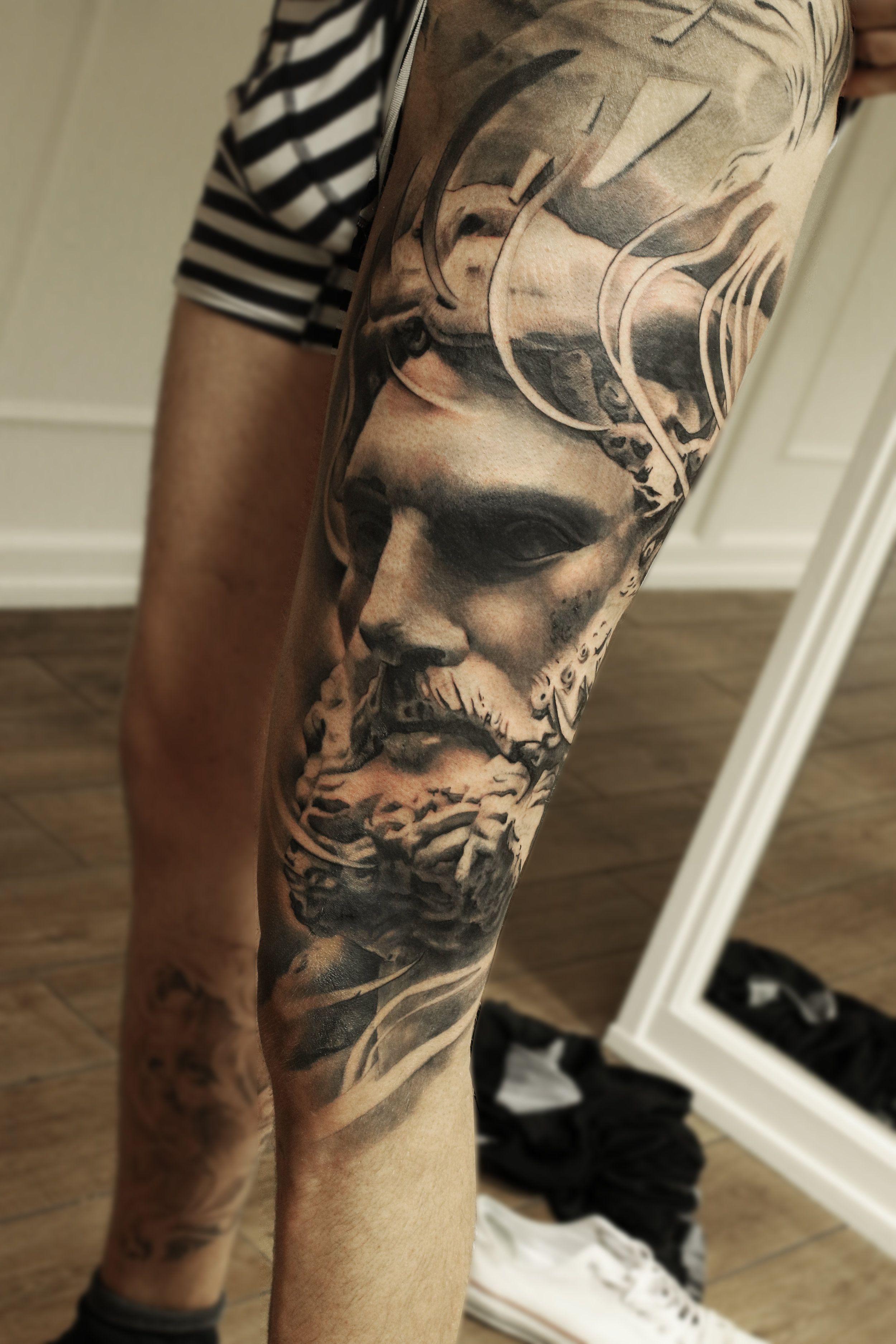 4efefc7eb54d0 Leg sleeve leg tattoo huge leg sleeve mark wosgerau statue realism realistic