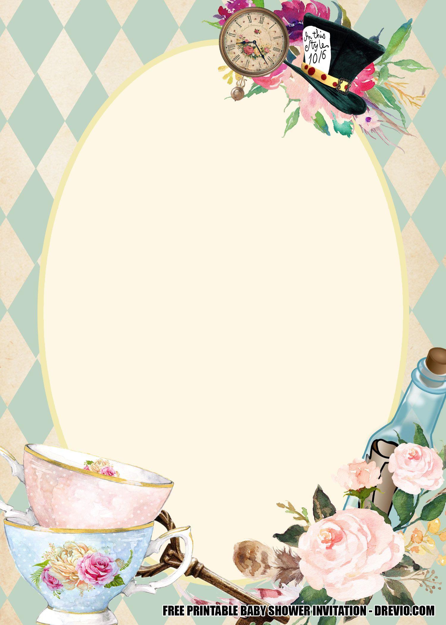 12 Alice In Wonderland Baby Shower Invitation Template