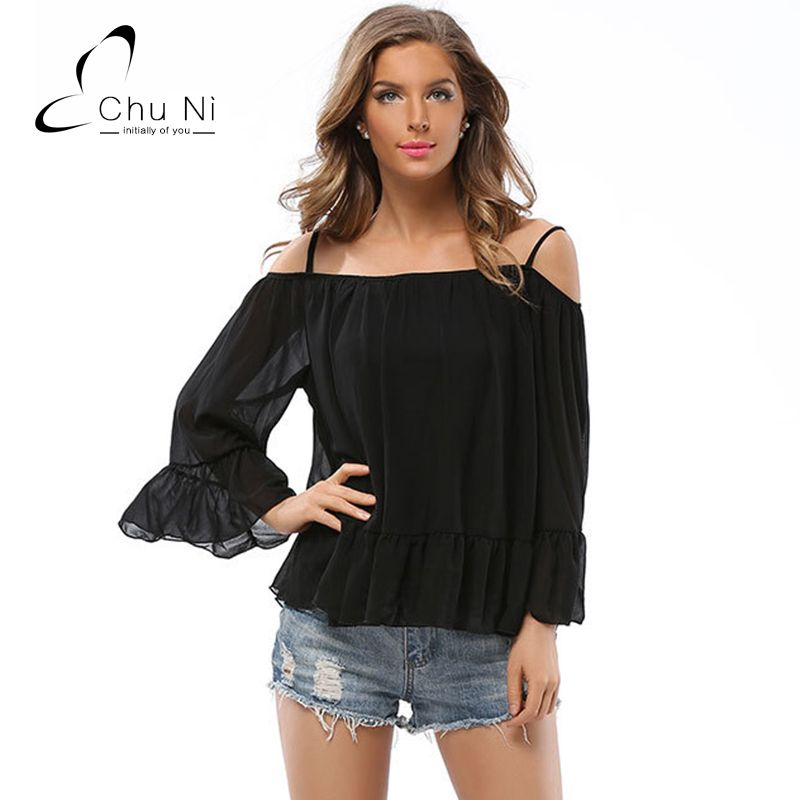 571df91e2beb0 Chu Ni Womens Sexy Off Shoulder Striped Strap Blouse Shirts Overalls Casual  Butterfly Sleeve Elegant Party Summer Tops S049