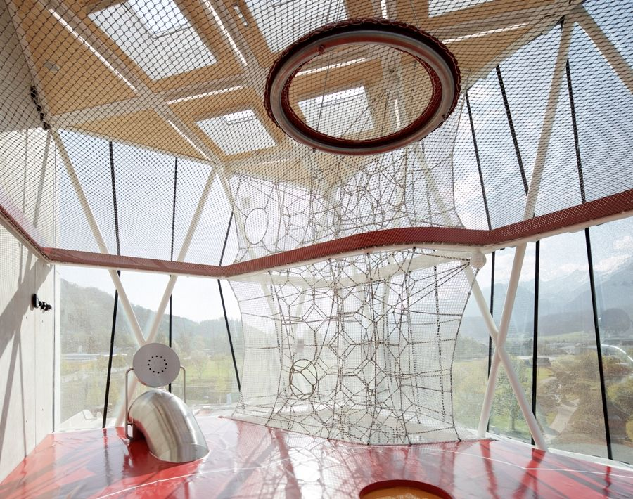 Swarovski Crystal Worlds In Wattens, Austria: Connected By A Large Vertical  Net, This Playground Features Areas For Kids To Climb, Swing, Bounce And  Run ...