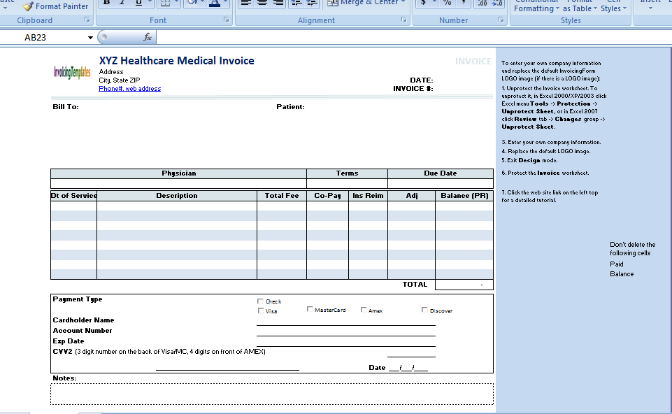 the medical invoice template is useful for any healthcare