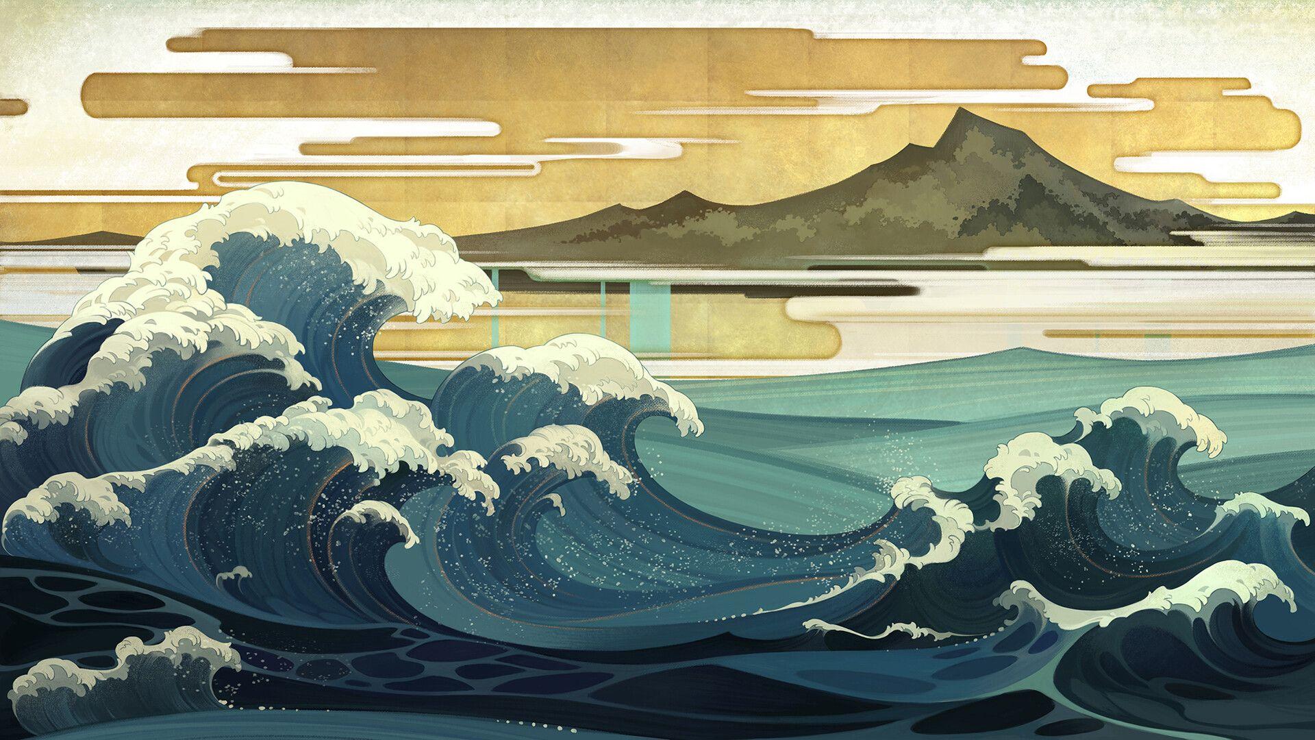 Aric Artstation Com Art Japanese Japaneseart Bigwave Tradidionalart Japan Desktop Wallpaper Art Japanese Art Japanese Background