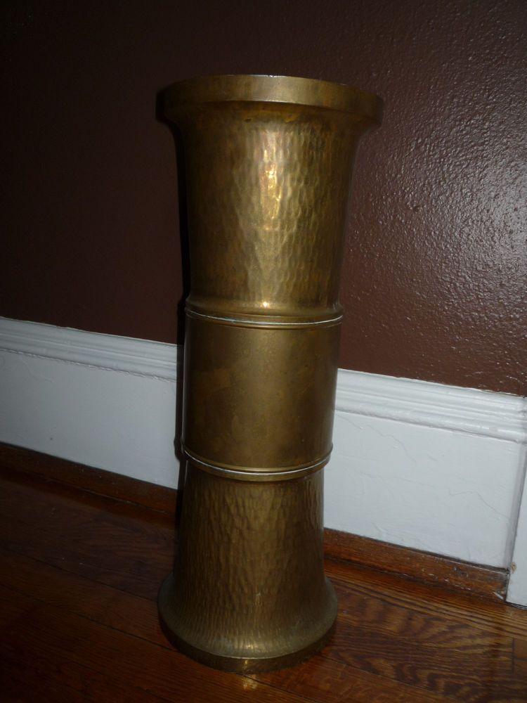 Vintage Brass Umbrella Stand Cane Holder Hammered Finish