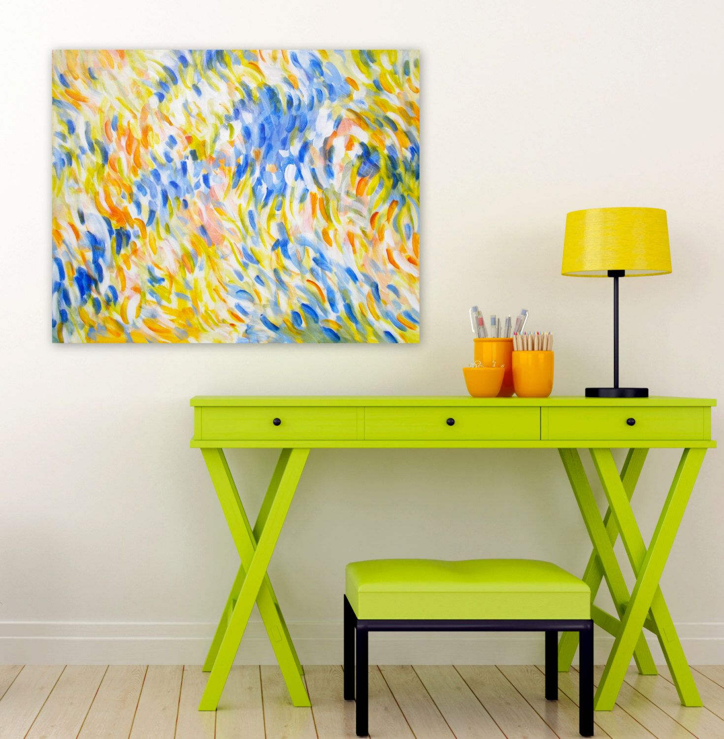 Large Abstract Impressionist Painting, Original Acrylic on 24x30 ...