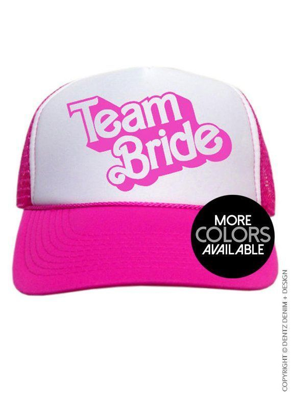 Team Bride - Doll Style - Snapback Trucker Cap - Adjustable Back - One Size Trucker Hat, Wedding Hats, Bridal Party Hat, Bridesmaid Hat #bridedolls Team Bride - Doll Style - Snap back Trucker hat. Perfect for the bachelorette! Adjustable snap-back hat with mesh trucker style back. ONE SIZE - FITS MOST SHIPPING , EXCHANGES AND RETURNS: All sales are final due to the custom nature of these garments. All garments are made to order. Please send us a message with any questions or concerns about sizin #bridedolls
