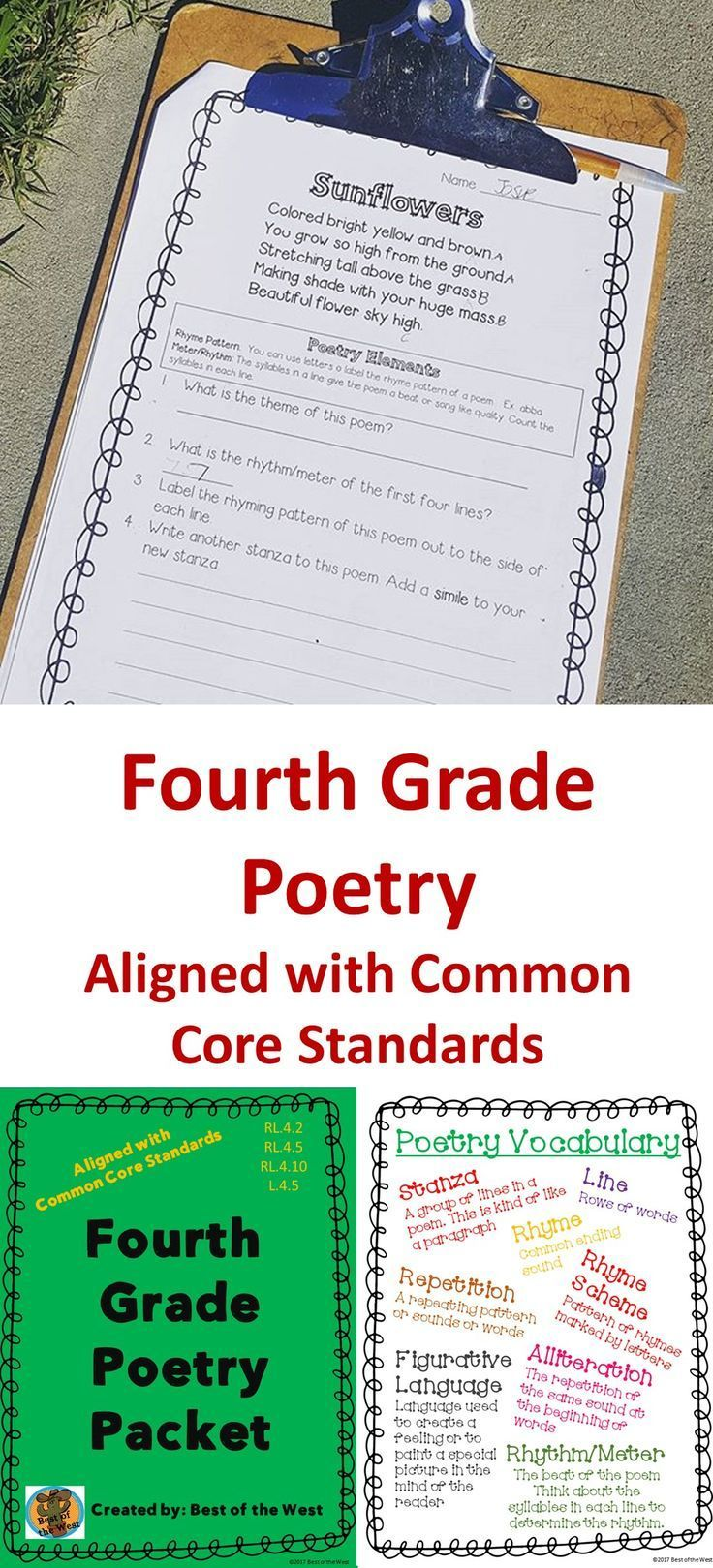 Fourth Grade Poetry Packet Fourth Grade Classroom Ideas