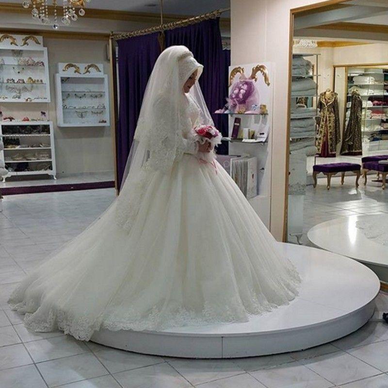 رداء دي Mariage فساتين الكرة ثوب الزفاف كم طويل مسلم فستان الزفاف فساتين زفاف الأميرة فساتين الزفاف الإ Arabian Wedding Wedding Dresses Ball Gown Wedding Dress