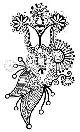 Diseño de línea negra arte flor adornado — Vector de stock ...