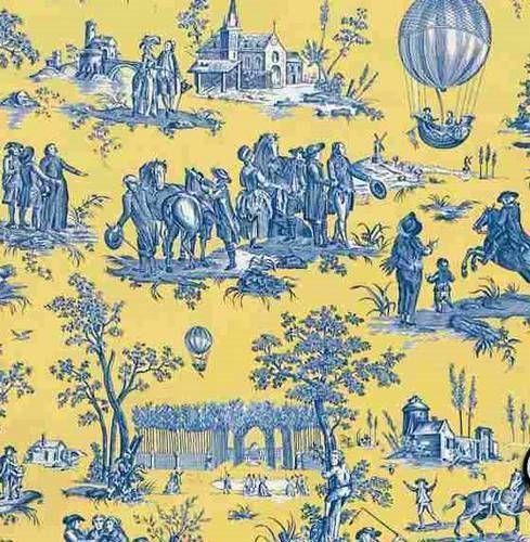 toile de jouy ballon de gonesse coloris jaune bleu toile de jouy pinterest toile de jouy. Black Bedroom Furniture Sets. Home Design Ideas