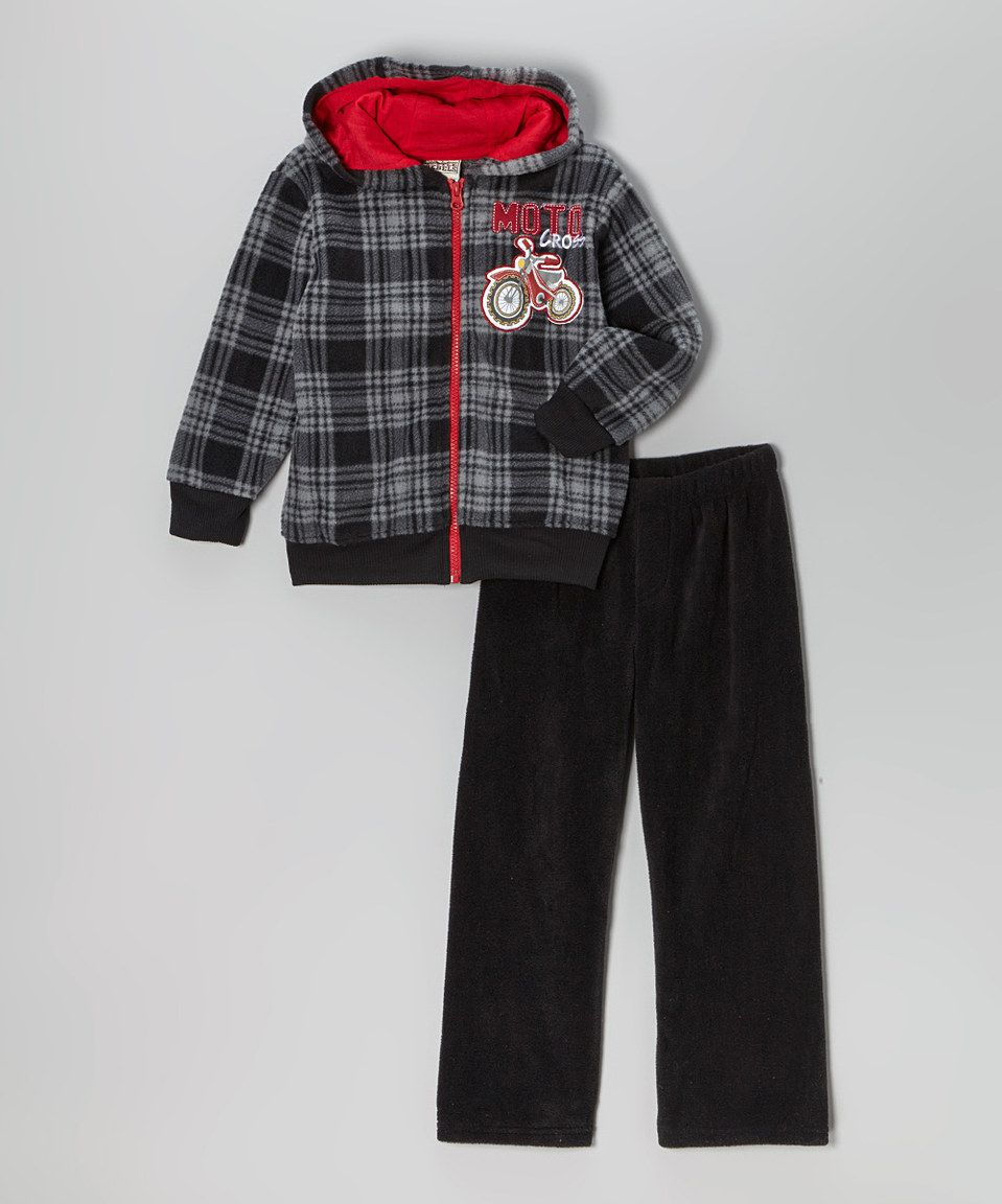 Black Plaid 'Moto' Fleece Hoodie & Pants - Infant, Toddler & Boys by Little Rebels #zulily #zulilyfinds