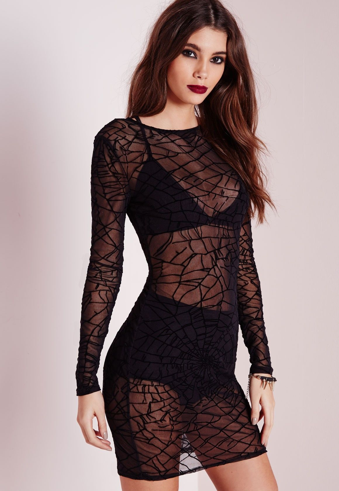 mesh cobweb print bodycon dress black - dresses - mini dresses