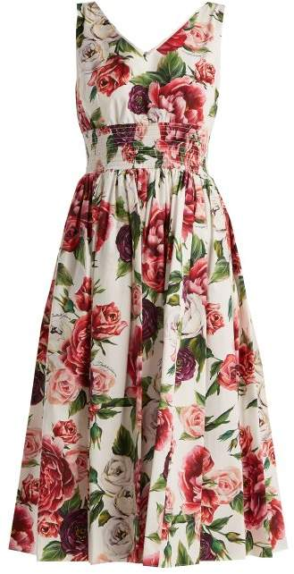 b46def3049 Dolce & Gabbana - Rose And Peony Print Cotton Poplin Dress - Womens - White  Multi