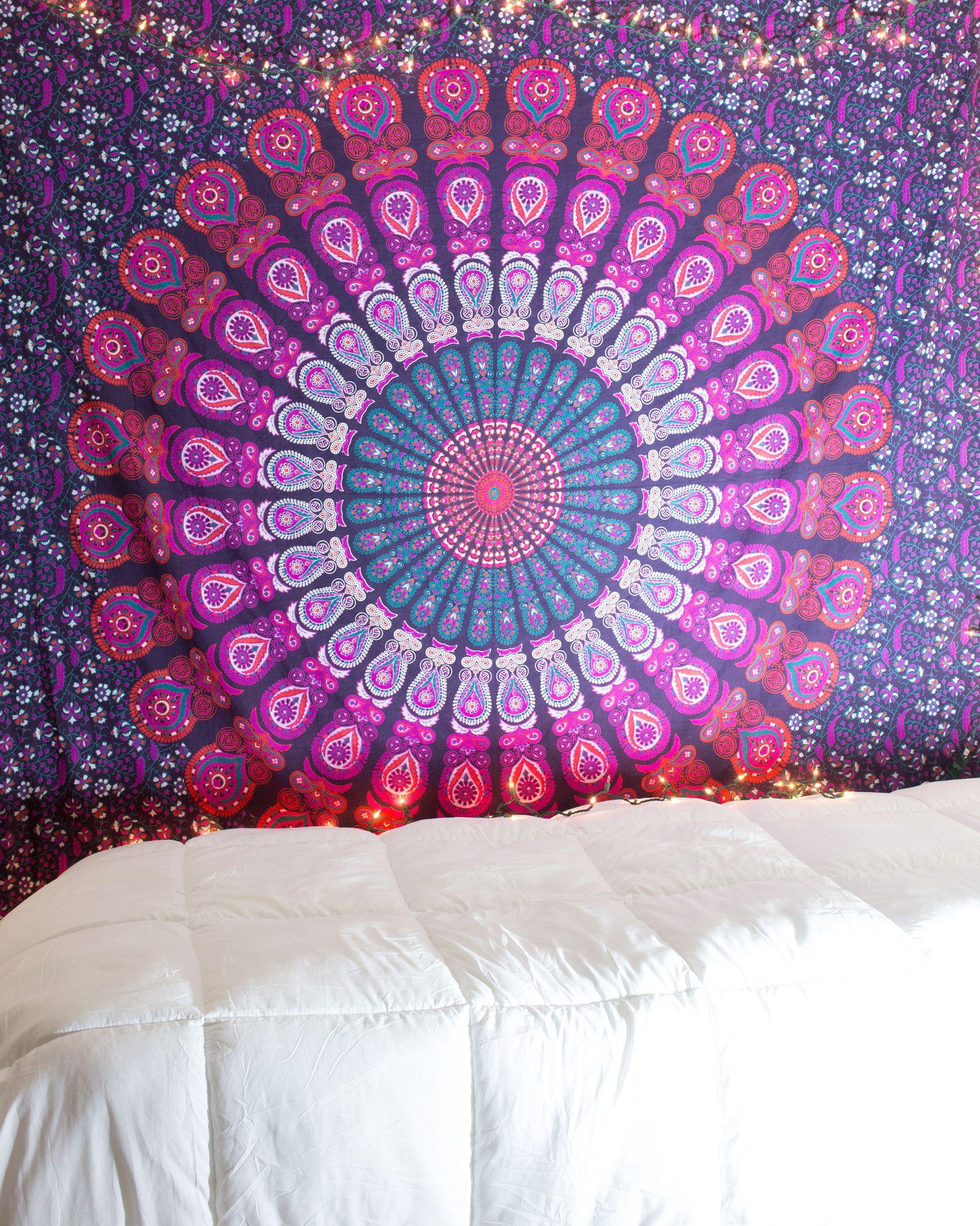 Purple & Pink Mandala Tapestry at $24.99 | http://www.thebohemianshop.com #MandalaTapestries #Bohemian