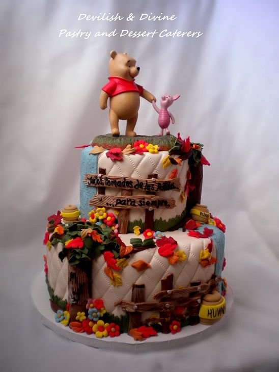 Disney Winnie The Pooh Piglet Wedding Cake Topper Was Provided By Client All Other Decor Hand Made Totes Adorbs