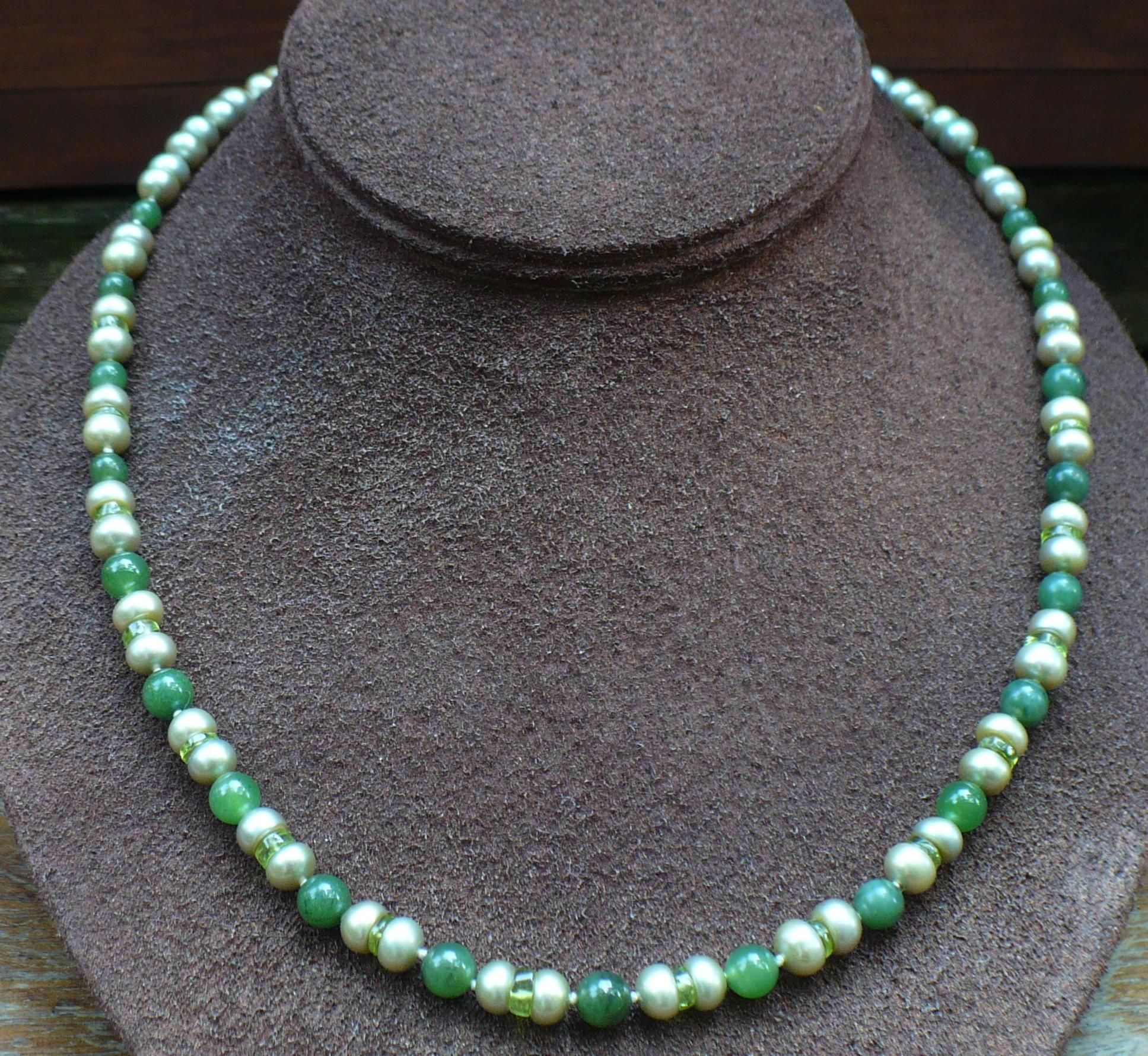 Custom Green Freshwater Pearls Peridot And Nephrite Jade Bead Necklace Jade Bead Necklace Artisan Necklace Beaded Necklace