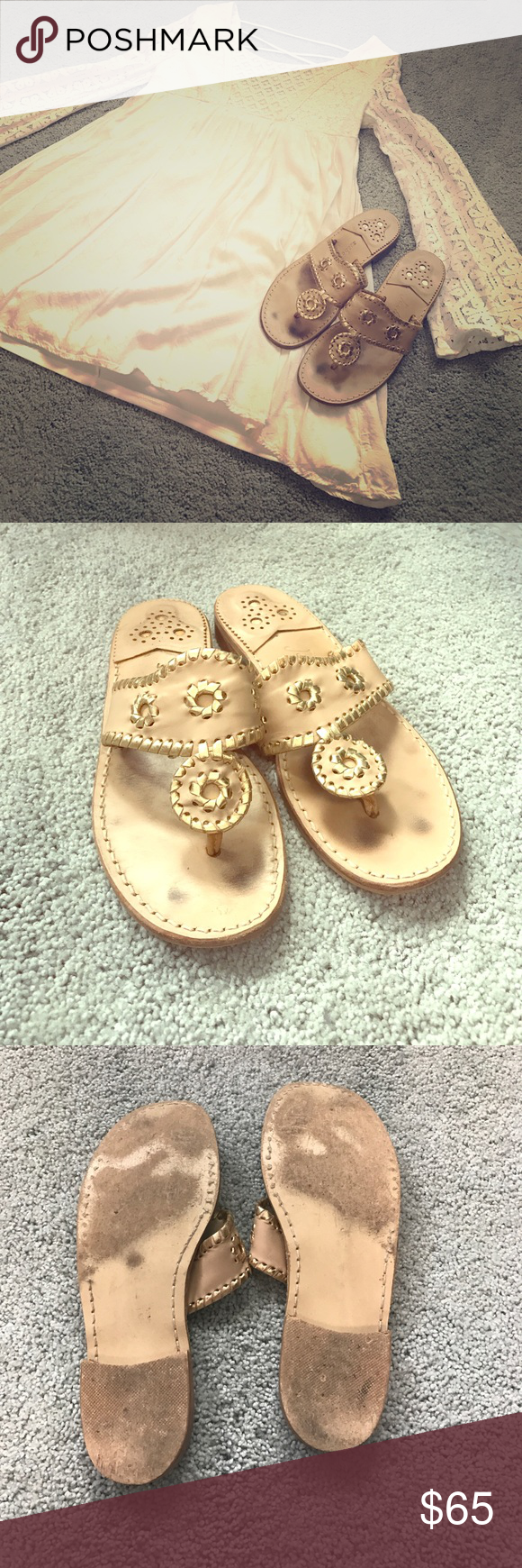 Jack Rogers Sandals ☀️ Nantucket Gold Jack Rogers! Baby Camel/Gold is the color! Gently worn and all wear is pictured (slight toe marks, little wear on heel)! All signs of wear can not even be seen when on - when worn they look brand new! Everything is still in tact! Super cute sandal for spring and summer! Great neutral! EUC, great condition and has lots of wear left! Spring and summer must have! ☀️ Jack Rogers Shoes Sandals