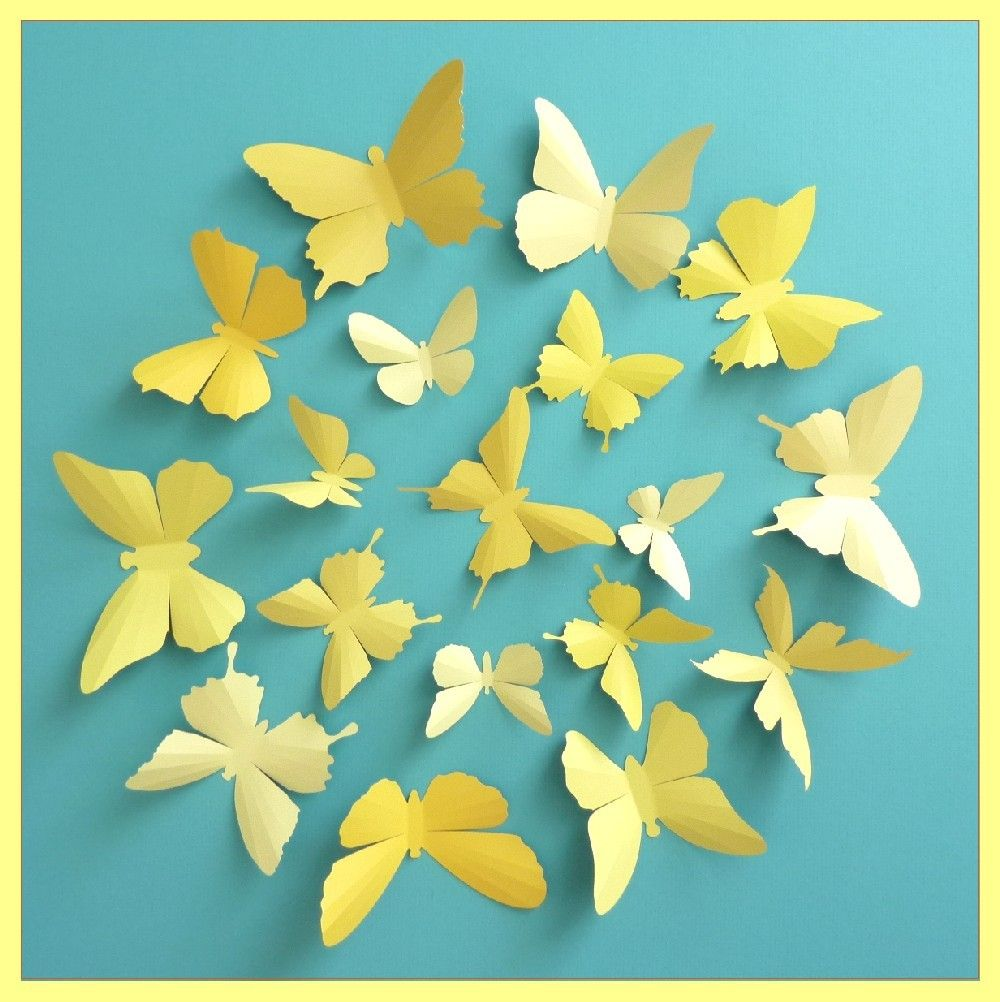 3D Wall Butterflies - 15 Vanilla, Mustard, Lemon, Gold Yellow ...