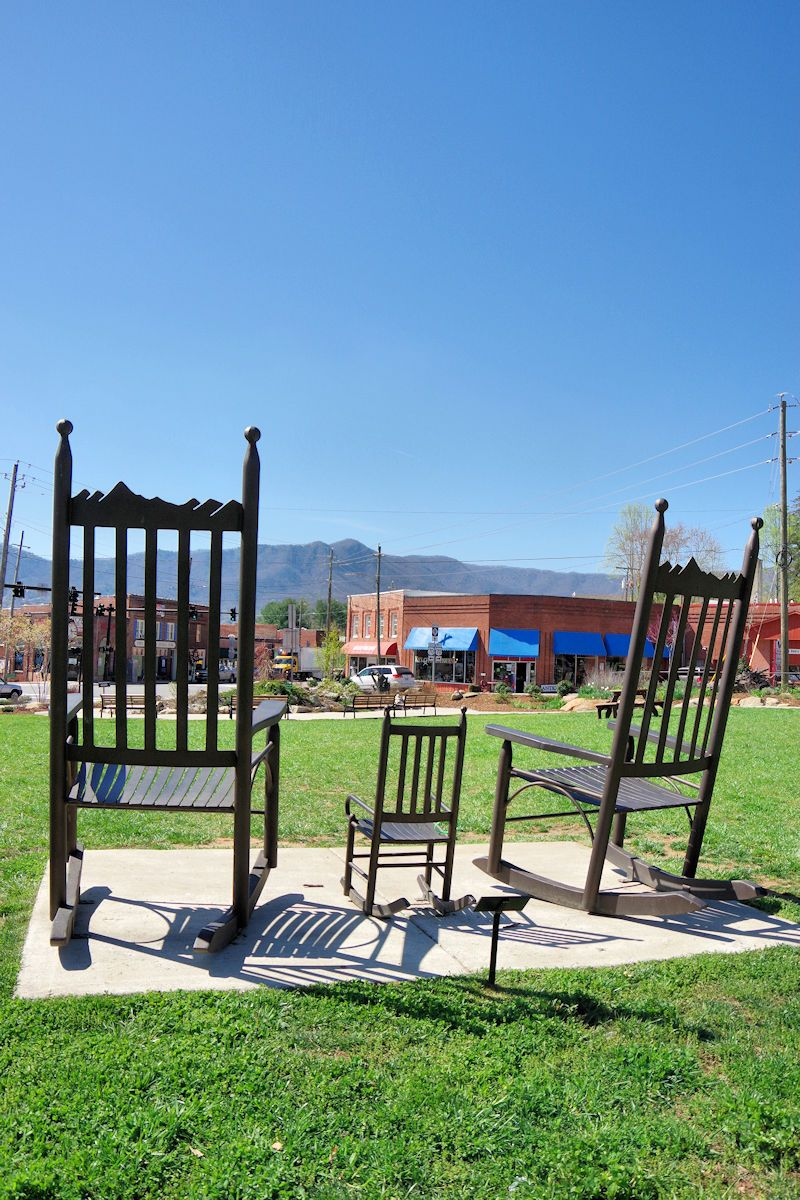 Black Mountain North Carolina Giant Rocking Chairs In Town Park