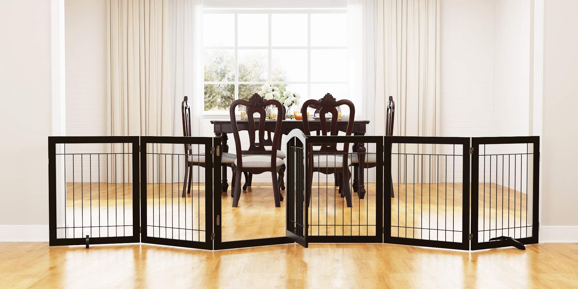 Pawland 144inch Extra Wide 30inches Tall Dog Gate With Door Walk