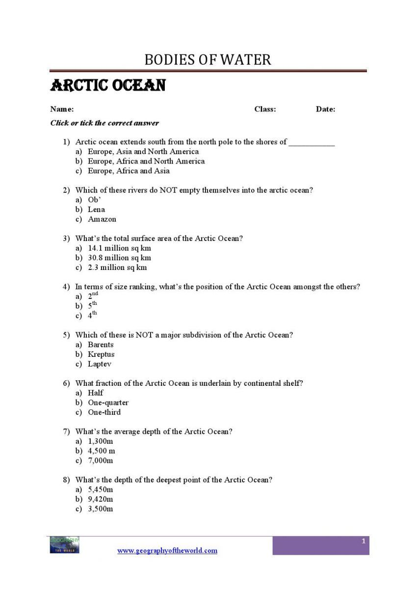 Worksheets Printable Geography Worksheets facts about the arctic ocean questions and answers worksheets bodies of water geography printable consist a list which help kidsstudents a