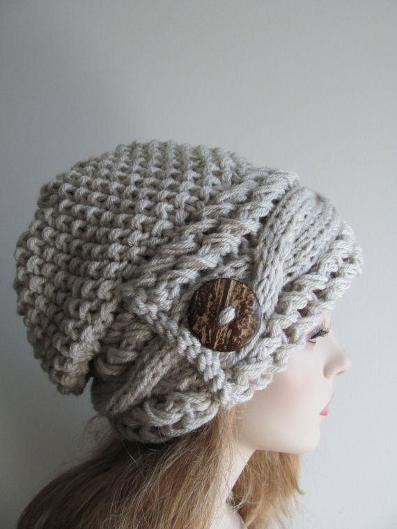 deec4fab1 Slouchy Beanie Slouch Cable Hats Oversized Baggy Beret Button womens ...