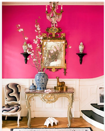 shocking pink wallpaper | Living Rooms | Pinterest | Wall colors ...