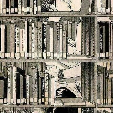 Kiss in the library