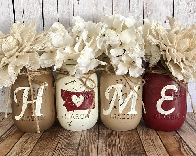 Home Mason Jars, Home State Mason jar set, Set of 4 pint size Mason jars, Shabby Chic decor, Rustic Home decor, Farmhouse, Housewarming gift