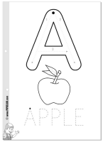 A is for Apple vowel tracing sheet and coloring page