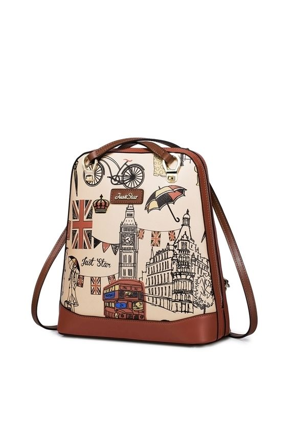 Just Star High Quality Faux Leather Purse Backpack School Shoulder Book Bag Vintage British Style Print