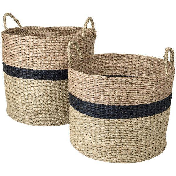 Broste Copenhagen Marlene Seagrass Basket  Set Of 2   Blue/Tan (1 565