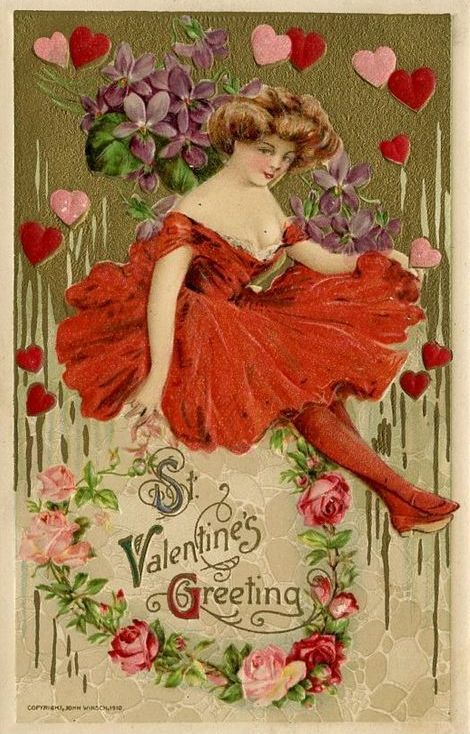 Valentine/'s Day Fabric Block Vintage Postcard on Fabric Victorian With Love