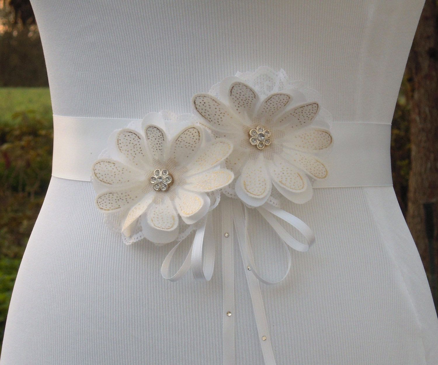 Gold wedding dress belt  White and Gold Wedding Dress Sash Belt Daisy Floral Bridal  Rustic