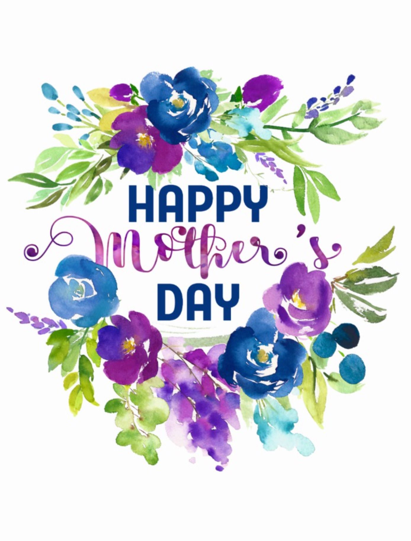 Happy Mother S Day Blue Purple Bouquet Postcard Mother S Day By