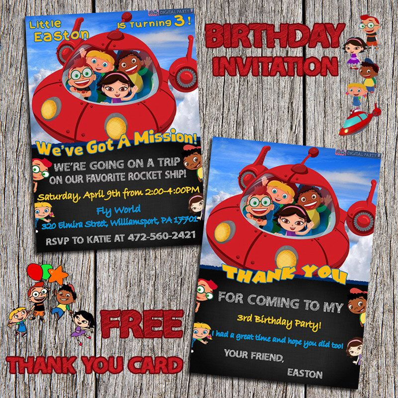 design birthday party invitations free%0A Little Einsteins Birthday Party Invitation And Free Thank You Card   Digital Printable Personalized  x  Little