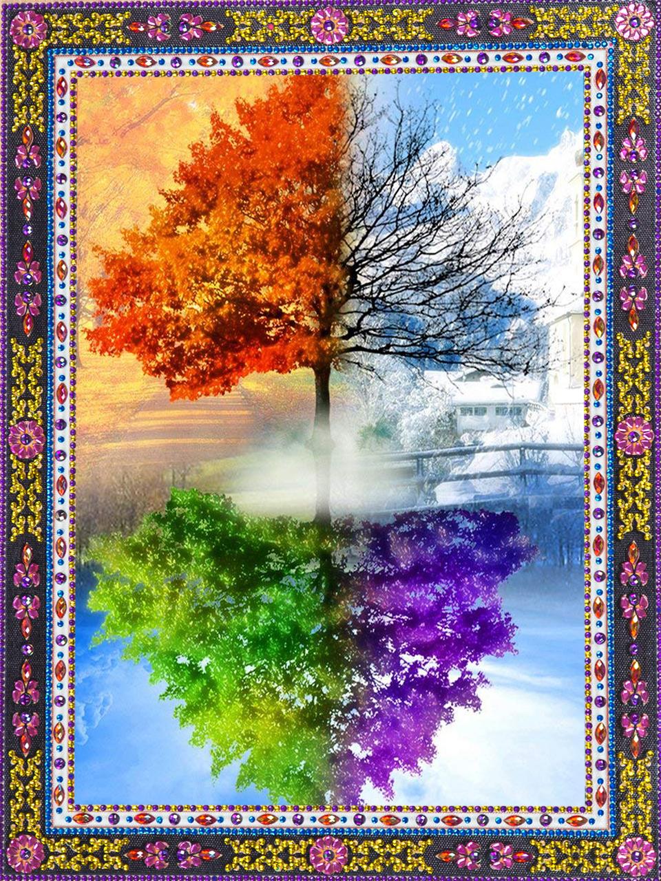 Four Season Tree V2 Round Diamond Painting