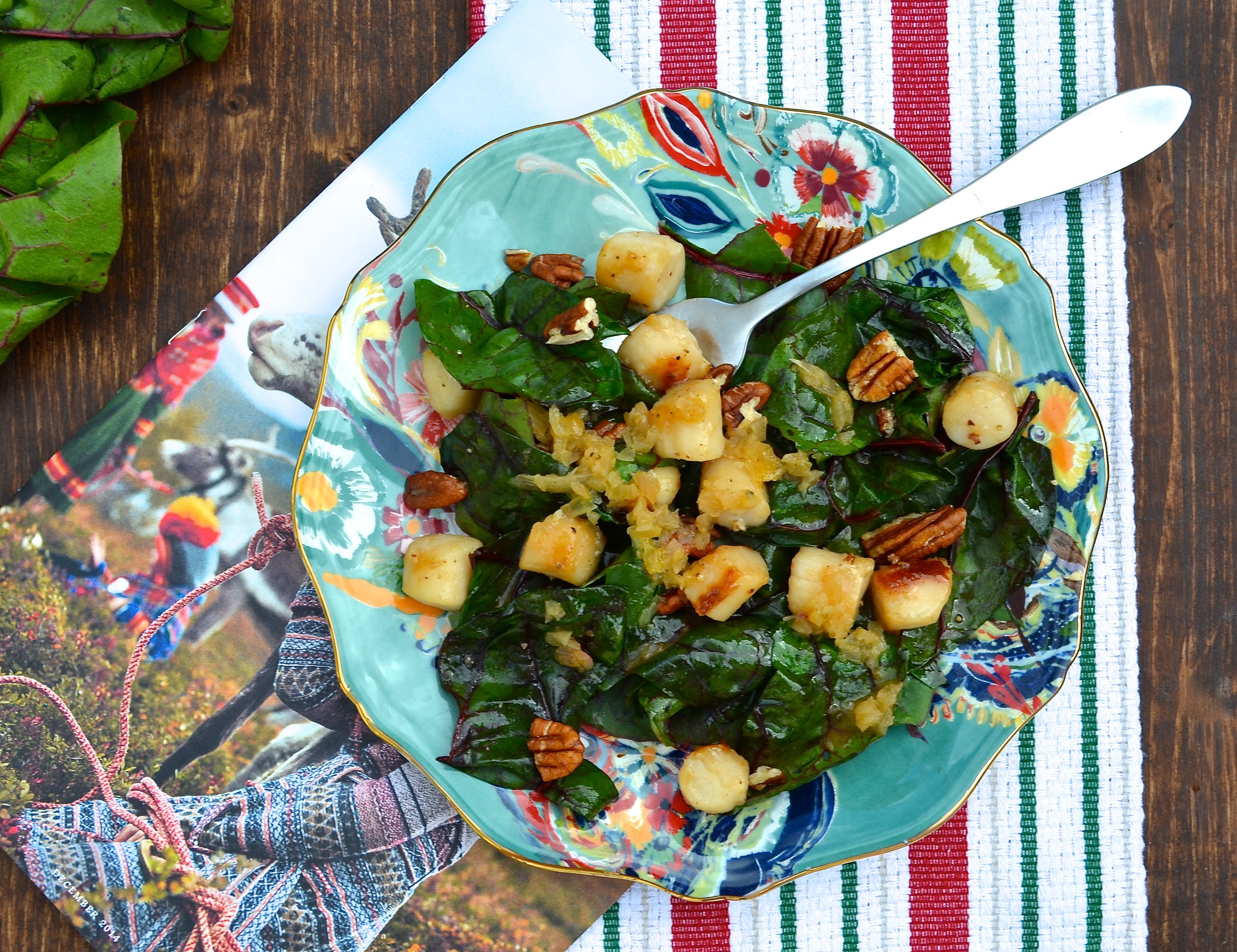 Sauteed Scallops with Wilted Swiss Chard & Shallot Dressing