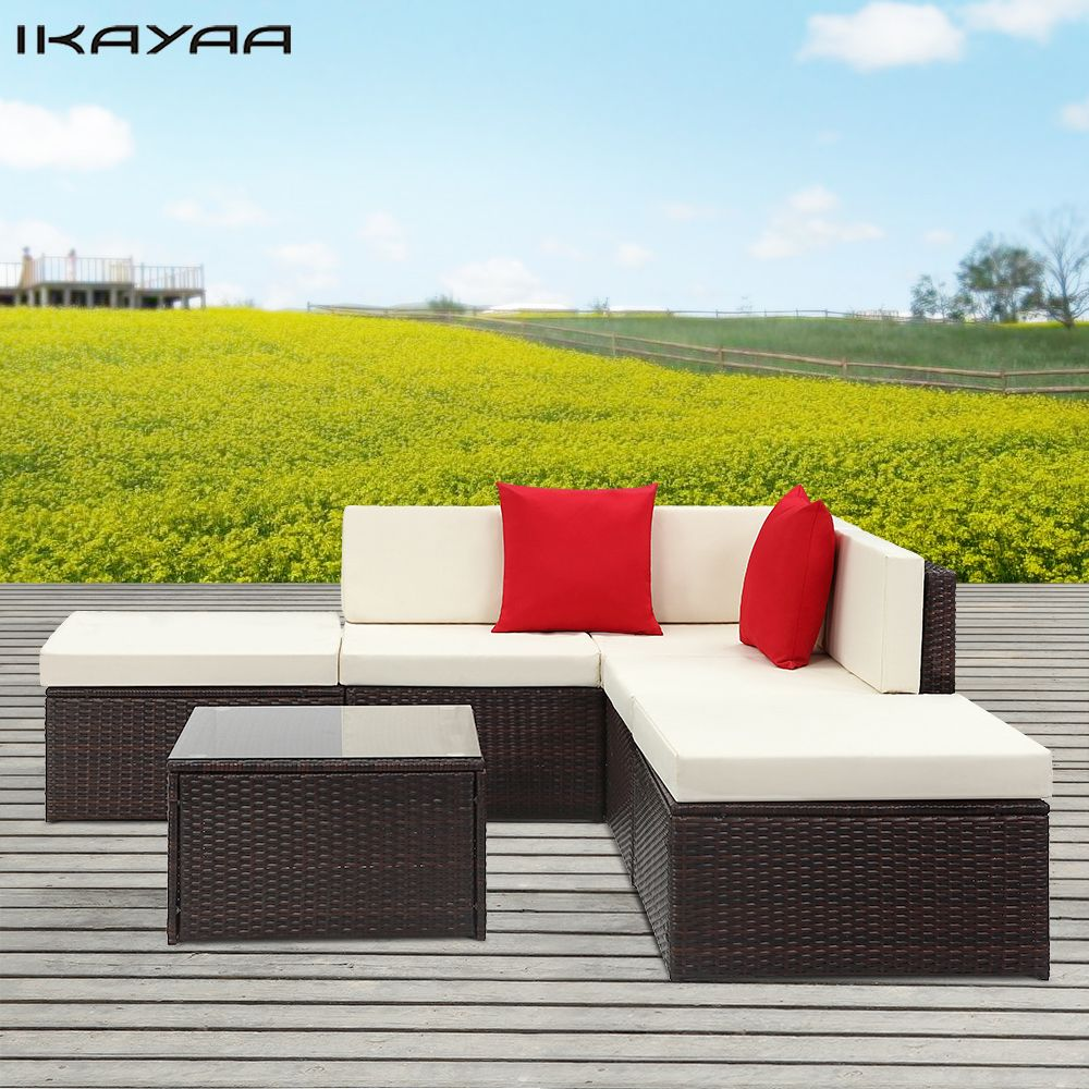 Ikayaa 6 Stucke Gepolsterten Rattan Terrasse Mobel Set Garten Wicker