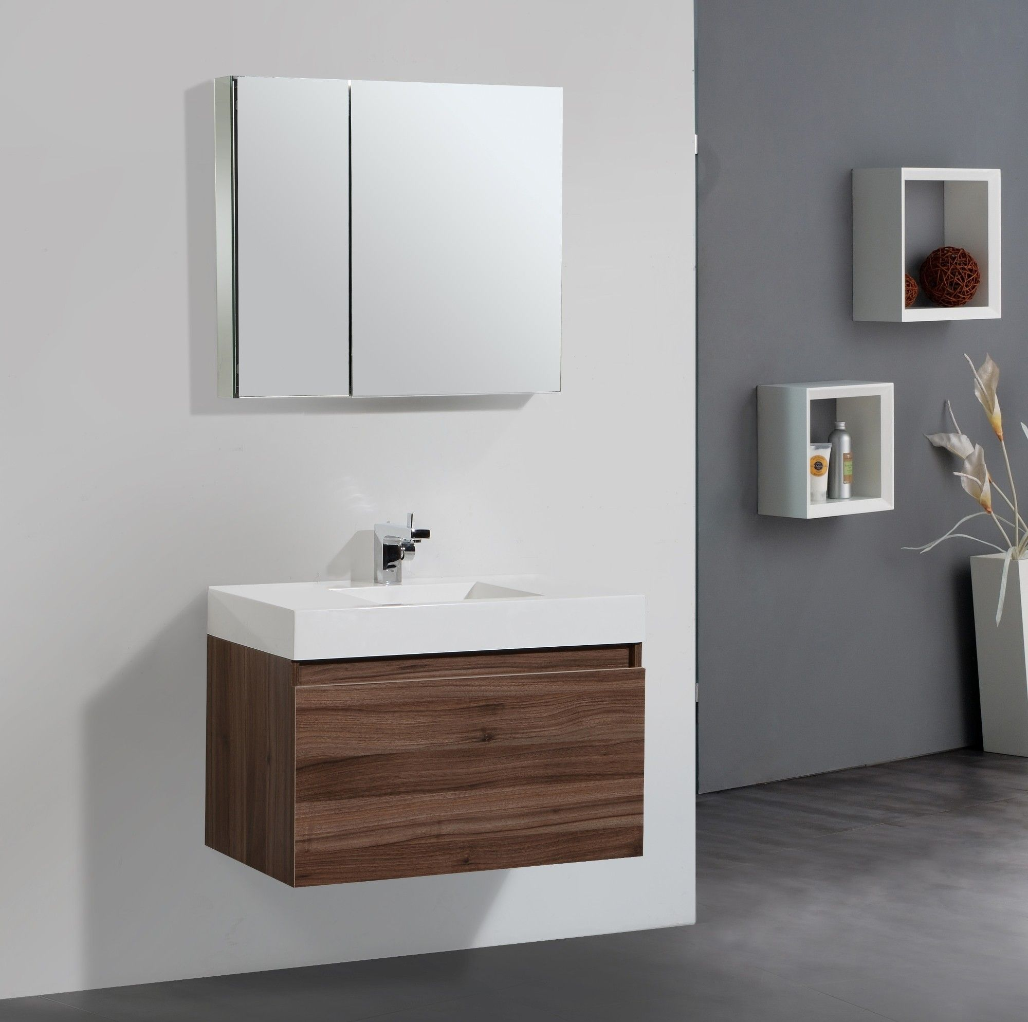 Modern bathroom decor accessories - Fantastic Small Bathroom Mirror Over Floating Walnut Small Vanity Single Sink Panels As Decorate In Gray Bathroom Designs