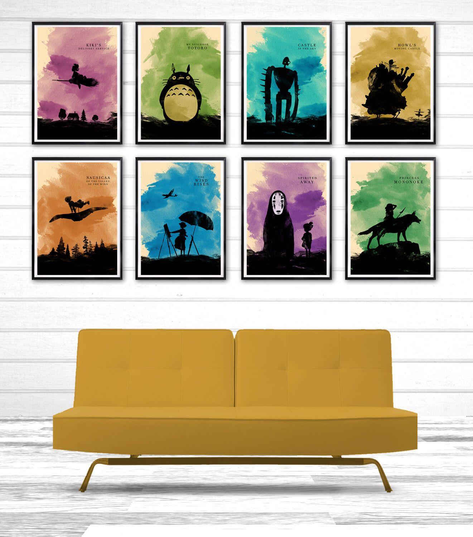 Hayao miyazaki minimalist movie poster set 8 poster