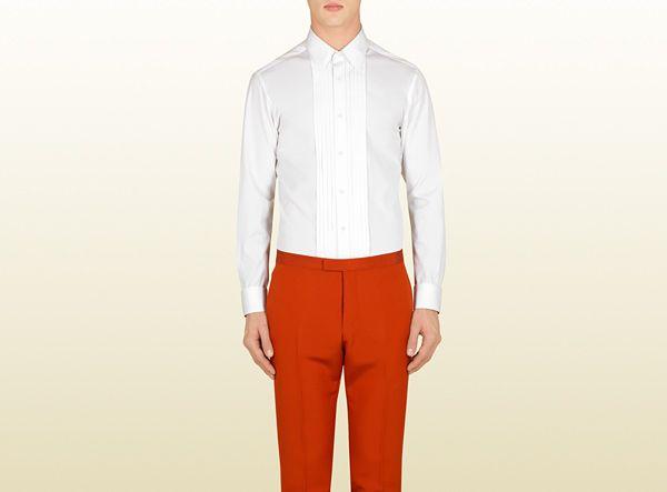 white poplin evening shirt