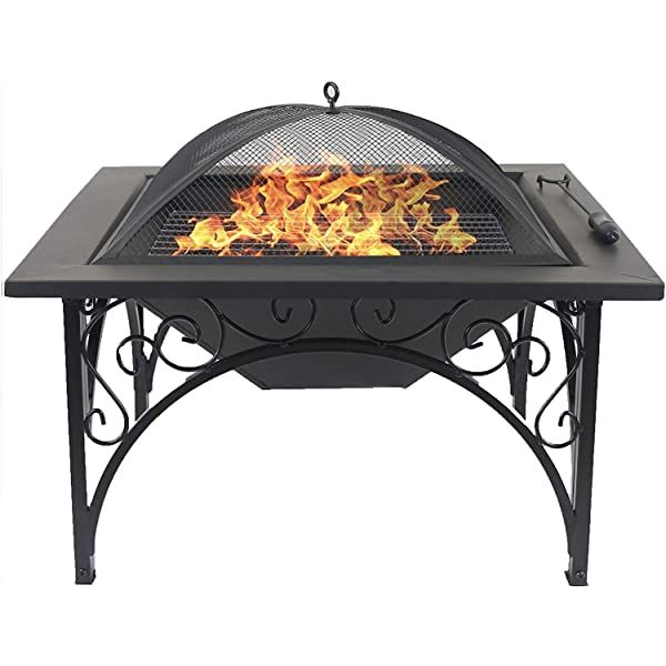 Photo of Outdoor Chimineas Fire Pit BBQ Firepit Brazier Garden Square Table Stove Patio Heater