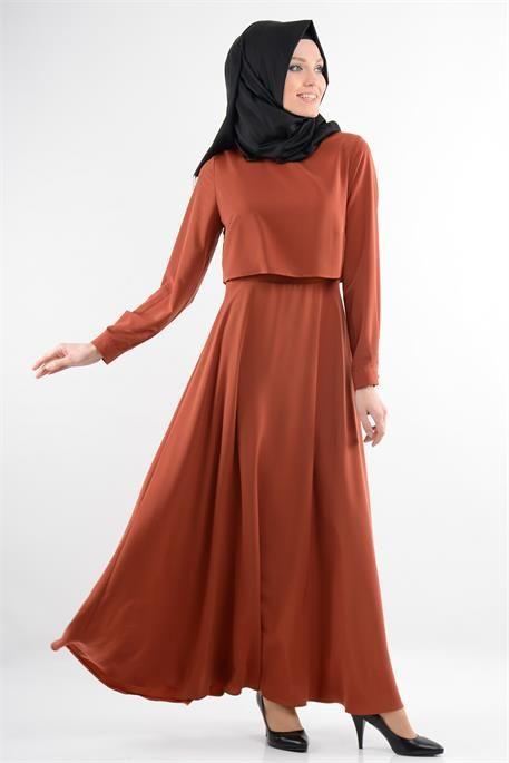Neva Style Kiremit Rengi Elbise Elbise Nevada Kiremit