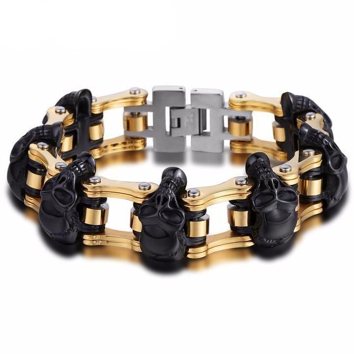 Bad To The Bone™ Stainless Steel Skulls Bracelet | mine | Pinterest