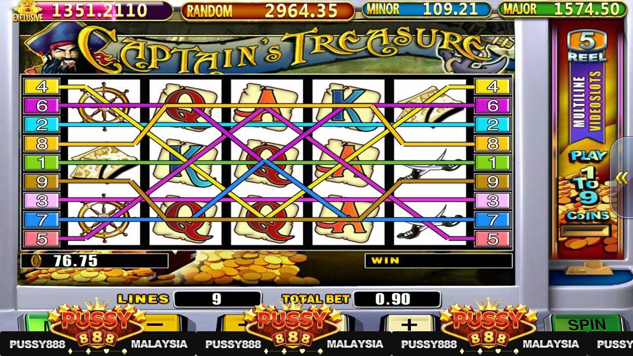 PUSSY888 CAPTAIN'S TREASURE SLOT GAME in 2020 Slots