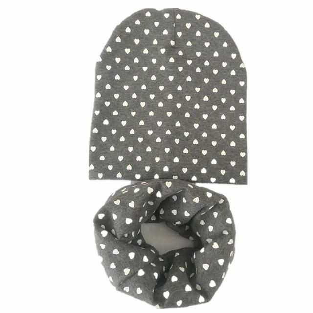 NEW solid color cotton heart spring autumn cotton baby scarf hat sets children beanies scarves boys girls kids accessories caps